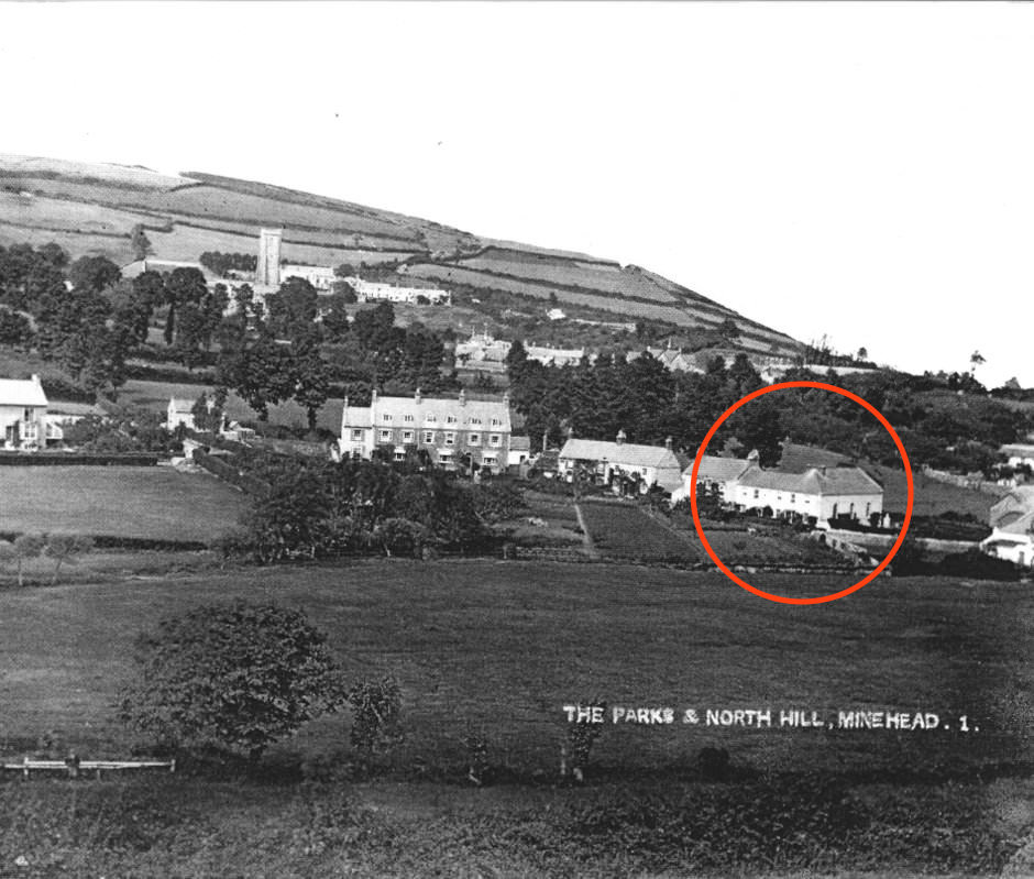 Minehead Baptist Church [circled] in the landscape in 1890