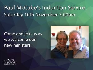 Induction Service for Paul McCabe: Saturday 10th November 3pm at MBC. #minehead