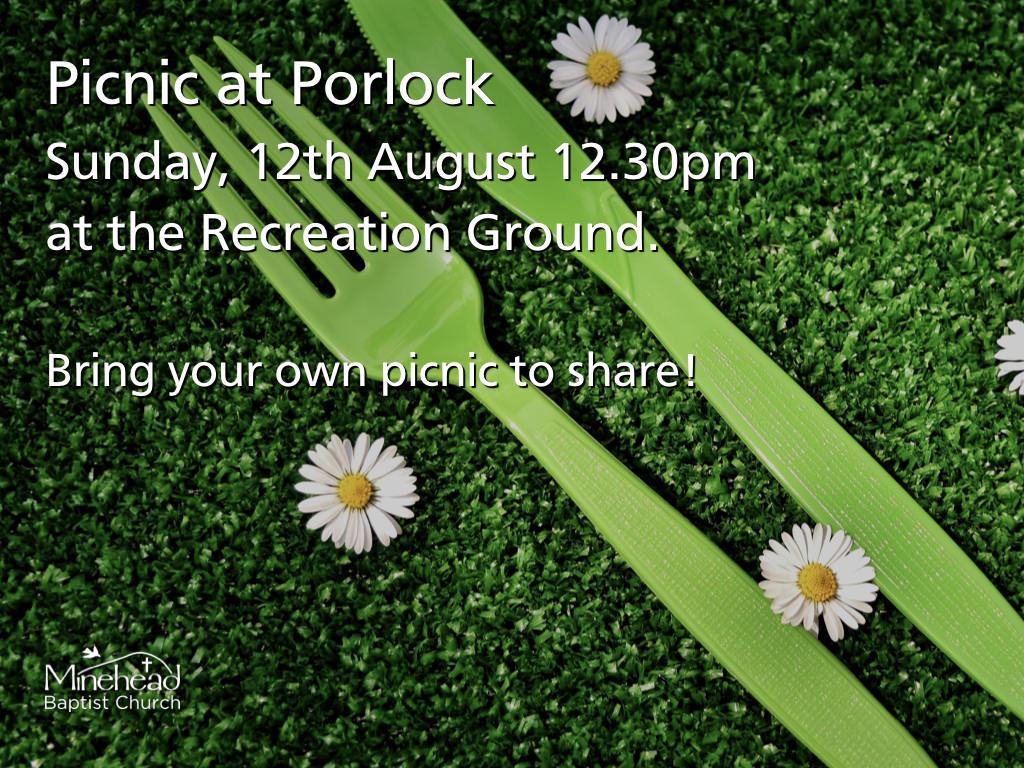 Church Pinic: Sunday 12th August 12.30pm at Porlock Recreation Ground #minehead #summer